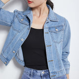Jean Jacket  for Women  Candy Color Casual Short Denim Jacket - Tania's Online Closet, LLC