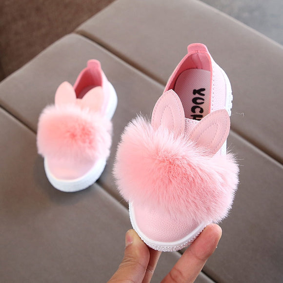 toddler Non-slip Leather Kids Sneakers Pompom Rabbit Ear Pink