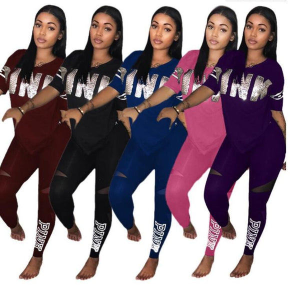 Pink Stretch Suit Set 2019 Women Tracksuit Two-piece Sport Style Outfit Jogging - Tania's Online Closet