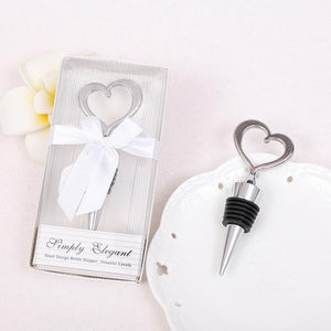 Love Heart Corkscrew Wine Bottle Opener + Wine Stopper Wedding Gift Favors - Tania's Online Closet