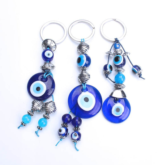 Lucky Eye Glass Evil Eye Keychain - Tania's Online Closet