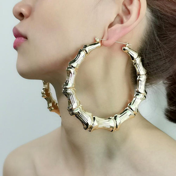 Metal Bamboo Large Hoop Earrings Gold Color Round Alloy  Big Earrings 2020 - Tania's Online Closet
