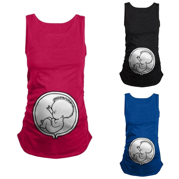 Women's Maternity Sleeveless Tops Cartoon Pattern - Tania's Online Closet