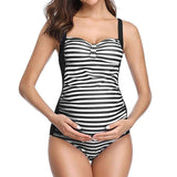 pregnancy swimsuit Stripe Print  Beachwear - Tania's Online Closet, LLC