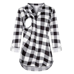 Women Maternity Long Sleeve Plaid Blouse For Breastfeeding women - Tania's Online Closet, LLC