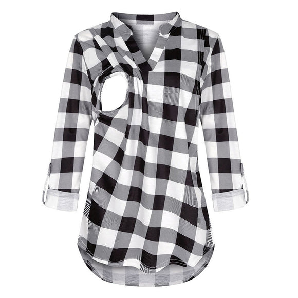 Women Maternity Long Sleeve Plaid Blouse For Breastfeeding women - Tania's Online Closet