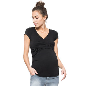 Maternity clothes Women Solid Pregnant Nursing breastfeeding Blouse T-Shirt - Tania's Online Closet