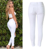 High Waist Stretch Denim White or Black Knee Ripped Jeans - Tania's Online Closet