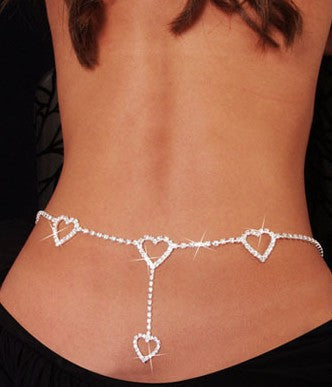 New Europe and America Burst Sells Waist Chain Rhinestone Heart to Heart Body Chain 1K2027 - Tania's Online Closet