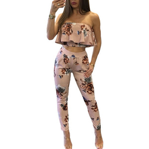 New Fashion Casual Women Suit Sexy Two-piece Outfits Strapless Crop Top - Tania's Online Closet, LLC
