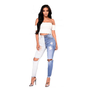 New High Waist Two tone Jeans Ripped Knee Hole Stretchy Denim Jeans - Tania's Online Closet