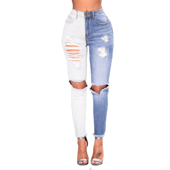 New High Waist Two tone Jeans Ripped Knee Hole Stretchy Denim Jeans - Tania's Online Closet, LLC