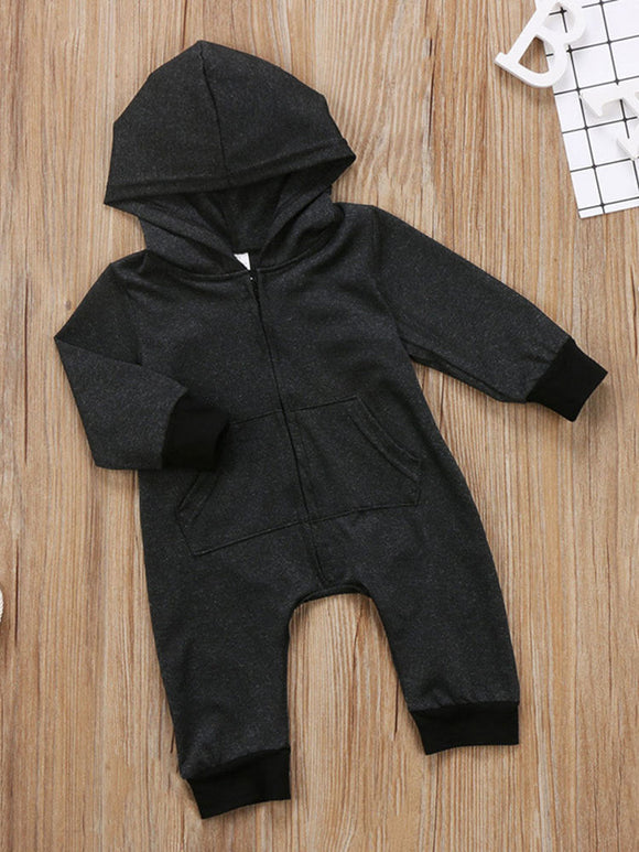 Newborn Kids Baby Jumpsuit Hooded Infant Baby Long Sleeve Zipper Romper - Tania's Online Closet