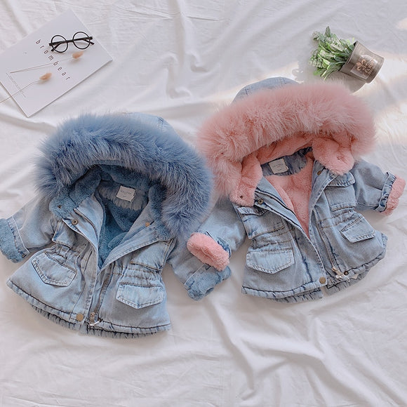 2019 Winter Baby Girl Denim Jacket Plus Velvet Real Fur Warm Toddler Girl Outerwear Coat