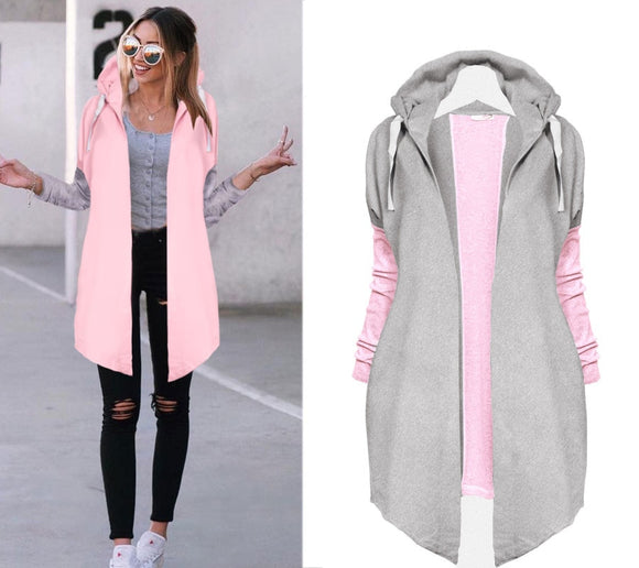 Oversized Women  Tie Collar Coat Casual Knitted  Zip-up Sweatshirts Fashion - Tania's Online Closet