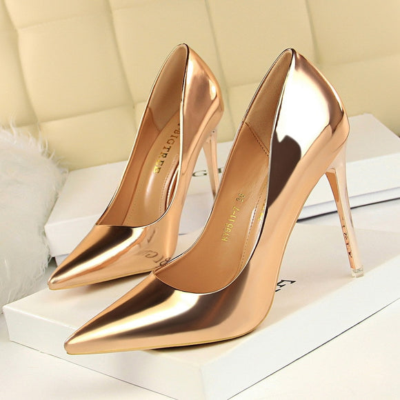 Gold, Silver & Black Thin Heel New Arrival Pumps - Tania's Online Closet