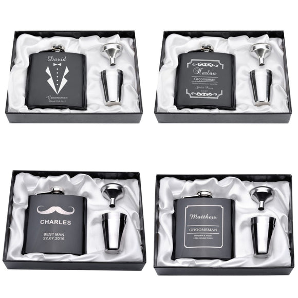 Personalized Engraved  6oz Hip Flask Set Stainless Steel Funnel Gift Box +2 Cups  Wedding Favor - Tania's Online Closet, LLC