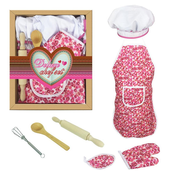 Pretend Play Cake Baking Apron Mitt Rolling Pin Training Cooking  Housework Set Kids Play Interactive Toy