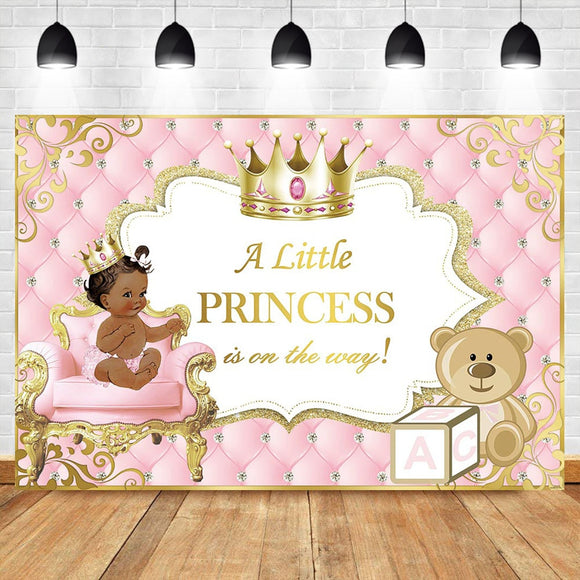 Pink and Gold Baby Shower Backdrop Ethnic Princess Photography Backdrops - Tania's Online Closet
