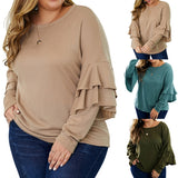 Plus Size Long Sleeve Shirt Women Casual O-Neck Tshirt Top Lady Elegant - Tania's Online Closet