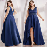Satin Prom Dress Double V-Neck Sequined Sleeveless Asymmetrical Party Gowns - Tania's Online Closet