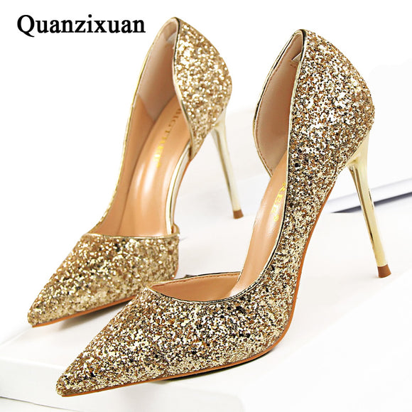 Sexy High Heels Pointed Toe Stiletto Glitter Heels- Wedding Shoes Bride Designer Heels - Tania's Online Closet, LLC