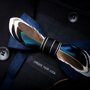 Men's Luxury Bowtie With Box Fashion Peacock Feather Bow Ties For Men - Tania's Online Closet