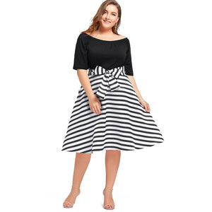ROSE GAL Women Short Sleeves Dress Summer Color Block Plus Size Dresses - Tania's Online Closet