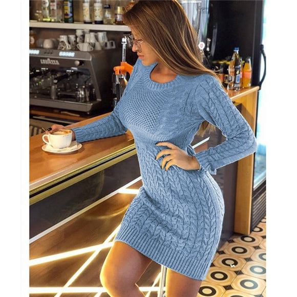 New 2020 Winter Sweater Dress  Fashion Hollow Out Knitted Dress Multi Colors - Tania's Online Closet