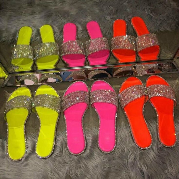 Rhinestone Candy-colored Slides - Diamond Flat Bottom Outdoor Sandals - Tania's Online Closet, LLC