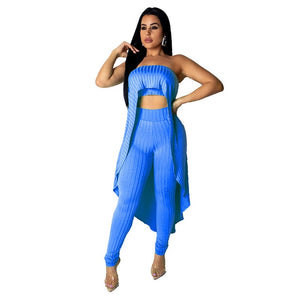 Knitted 2 Piece Set Women Strapless Long Tops and Elastic Waist Pants Set - Tania's Online Closet