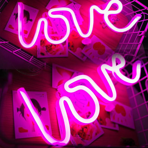 Romantic Pink LOVE Letters LED lighting pannel Light USB Charging Home Decor - Tania's Online Closet