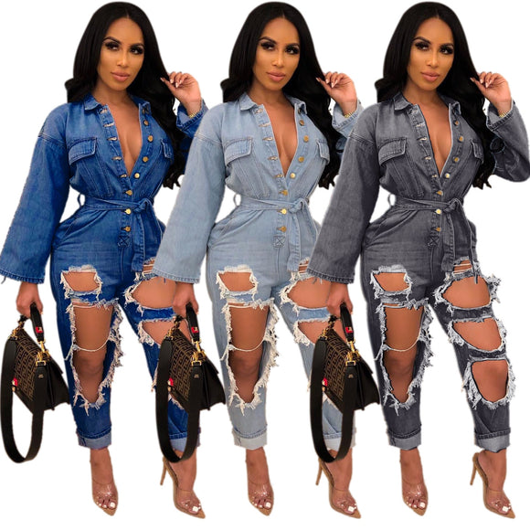 Open-chest Style Fashion Loose Long-sleeved Denim Jumpsuit - Tania's Online Closet