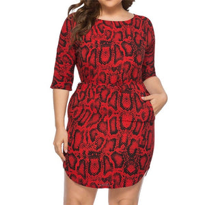 Sexy Snake Print Women Dress Half Sleeve Bodycon Dress Woman Plus Size - Tania's Online Closet
