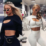 Short Sweatshirts Women Long Sleeve Black White Sweatshirt Fashion Crop Top - Tania's Online Closet