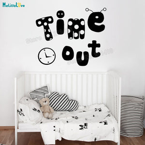 Time Out Dancing Clock Wall Sticker Decals For Kids-Baby Room - Tania's Online Closet
