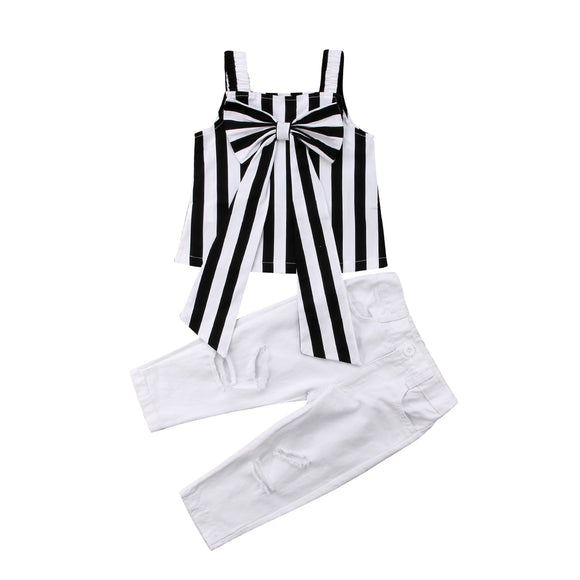 Toddler Child Kids Cotton Top Shirt Big Bow Stripe Pants Summer Clothes 2PCS Set Girl 2-7T - Tania's Online Closet