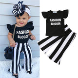Toddler Girls Ruffle letter print pullover Shirt and striped Trousers 2pcs set - Tania's Online Closet, LLC