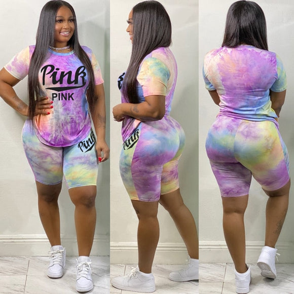 Pink Letter Print 2 Piece Set Womens Outfits Tie Dye Print Set - Tania's Online Closet