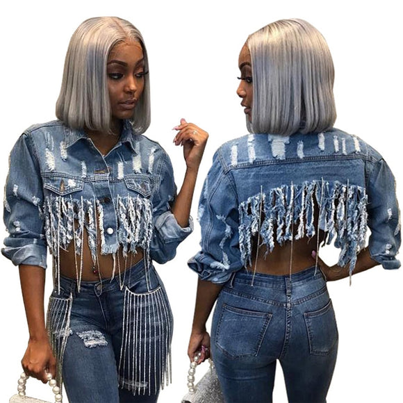 Tassel Ripped Cropped Jean Jacket -Chain Long Sleeve Denim Jacket Street wear Short Denim Coat