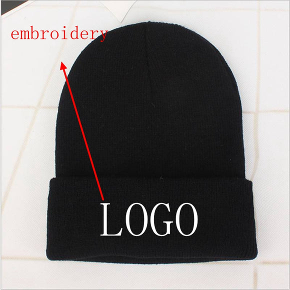 Custom Logo Embroidery skullies hat Solid Color Unisex-Adult - Tania's Online Closet, LLC