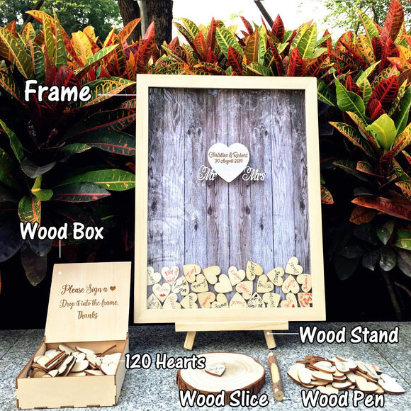 Wedding Guest Book Personalized Wedding Decoration Rustic Sweet Wedding Guestbook 120pcs Small Wood Hearts - Tania's Online Closet, LLC