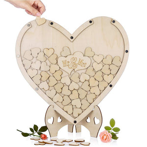 Wedding Guest Book Decor -Rustic Sweet Guestbook Wedding Wishes Hearts drop box - Tania's Online Closet