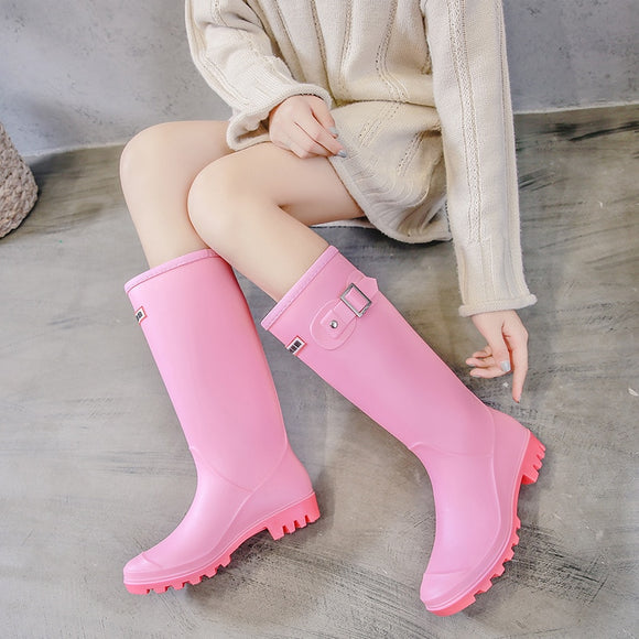 Women High Warm Lined Rain Boots Anti-slip Waterproof Insulated Pull-on