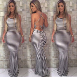 Women Summer Vintage Boho Striped Long Maxi Dress Backless - Tania's Online Closet
