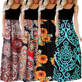 Women's Casual Sleeveless O-neck  Print Maxi  Long Dress S-3XL 2019 - Tania's Online Closet