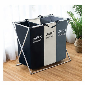X-shape Collapsible Dirty Clothes Laundry Basket 2/3 section Foldable Organizer Laundry Hamper Sorter - Tania's Online Closet, LLC