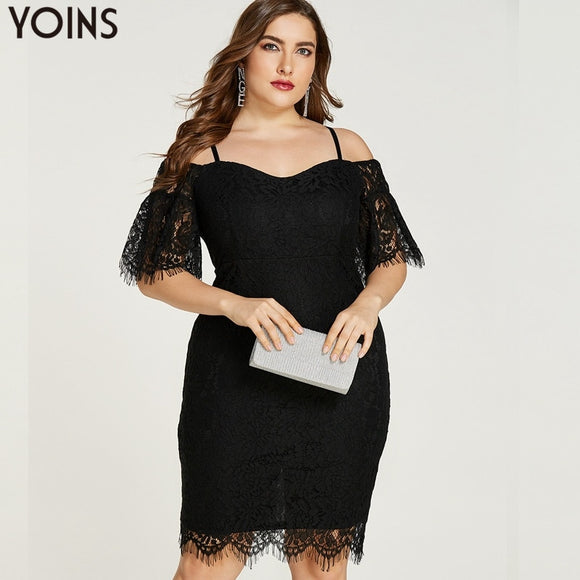 YOINS Plus Size Women Lace Off Shoulder Knee-length Dress - Tania's Online Closet
