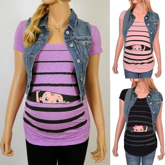 Maternity Cute Funny Baby Print Striped Short Sleeve T-shirt - Tania's Online Closet