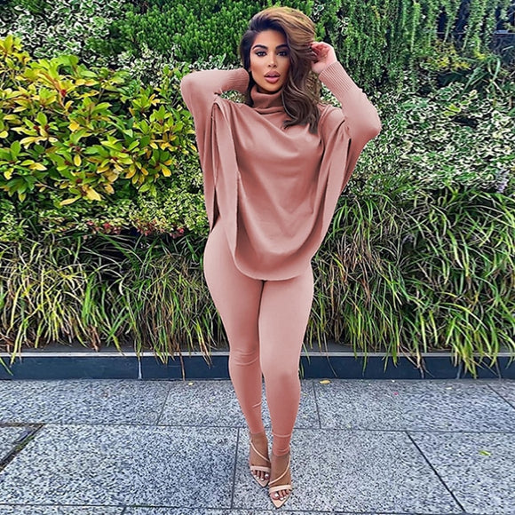 Casual Two Piece Set Turtleneck Batwing Sleeve Long Top+ Pants Matching Sets - Tania's Online Closet